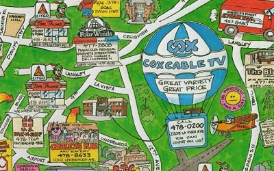 Vintage Pensacola 90s Cartoon Business Map